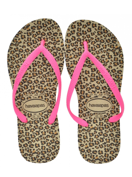 Havaiana Slim Animals Areia/Pink Kids